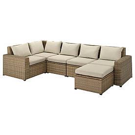 IKEA SOLLERÖN  Модульный угловой диван, 4-местный садовый, с подставкой для ног коричневый / Халле бежевый