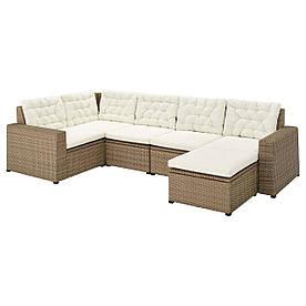 IKEA SOLLERÖN  Модульный угловой диван, 4-местный садовый, с подставкой для ног коричневый / бежевая Куддарна