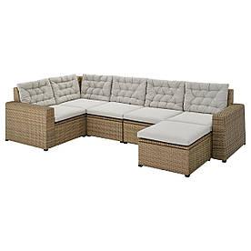 IKEA SOLLERÖN  Модульный угловой диван, 4-местный садовый, с подставкой для ног, коричневый / серый Куддарна