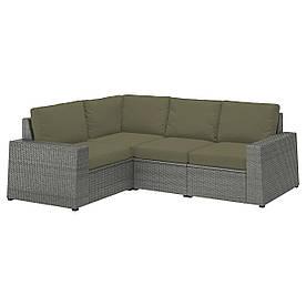 IKEA SOLLERÖN Модульний кутовий диван 3-місний садовий, темно-сірий / Frösön / Duvholmen