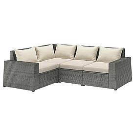 IKEA SOLLERÖN Модульний кутовий диван, 3-місцевий, темно-сірий / Халле бежевий (192.884.93)