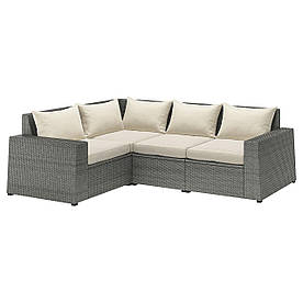 IKEA SOLLERÖN  Модульный угловой диван, 3-местный, темно-серый / Халле бежевый (192.884.93)