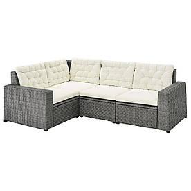 IKEA SOLLERÖN  Модульный угловой диван, 3-местный, темно-серый / бежевая Куддарна (993.036.30)