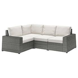 IKEA SOLLERÖN Модульний кутовий диван, 3-місцевий, темно-сірий / Frösön / Duvholmen beige (392.877.89)