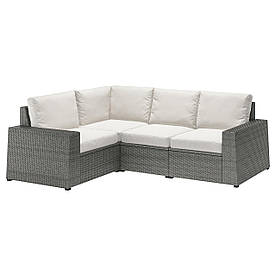 IKEA SOLLERÖN  Модульный угловой диван, 3-местный, темно-серый / Frösön / Duvholmen beige (392.877.89)
