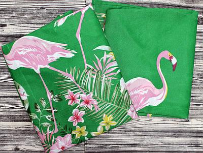 Яркое двуспальное постельное бельё с фламинго