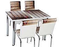 """Кухонный комплект стол и 4 стула """"Букет на досках"""" МДФ каленое стекло 70*110 (Лотос)"""