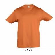 Оранжевая детская футболка, 100% хлопок, короткий рукав, однотонная