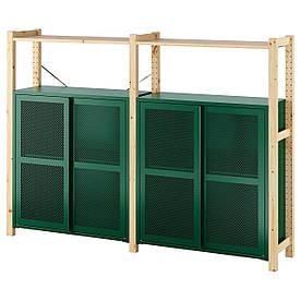 IKEA IVAR 2 відділення / полиці / шафи, сосна / зелена сітка (994.013.91)