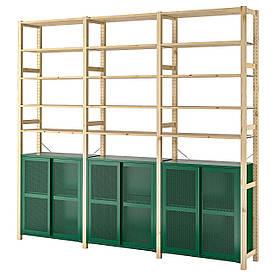 IKEA IVAR 3 секції / шафа / полки, сосна / зелена сітка (894.013.82)