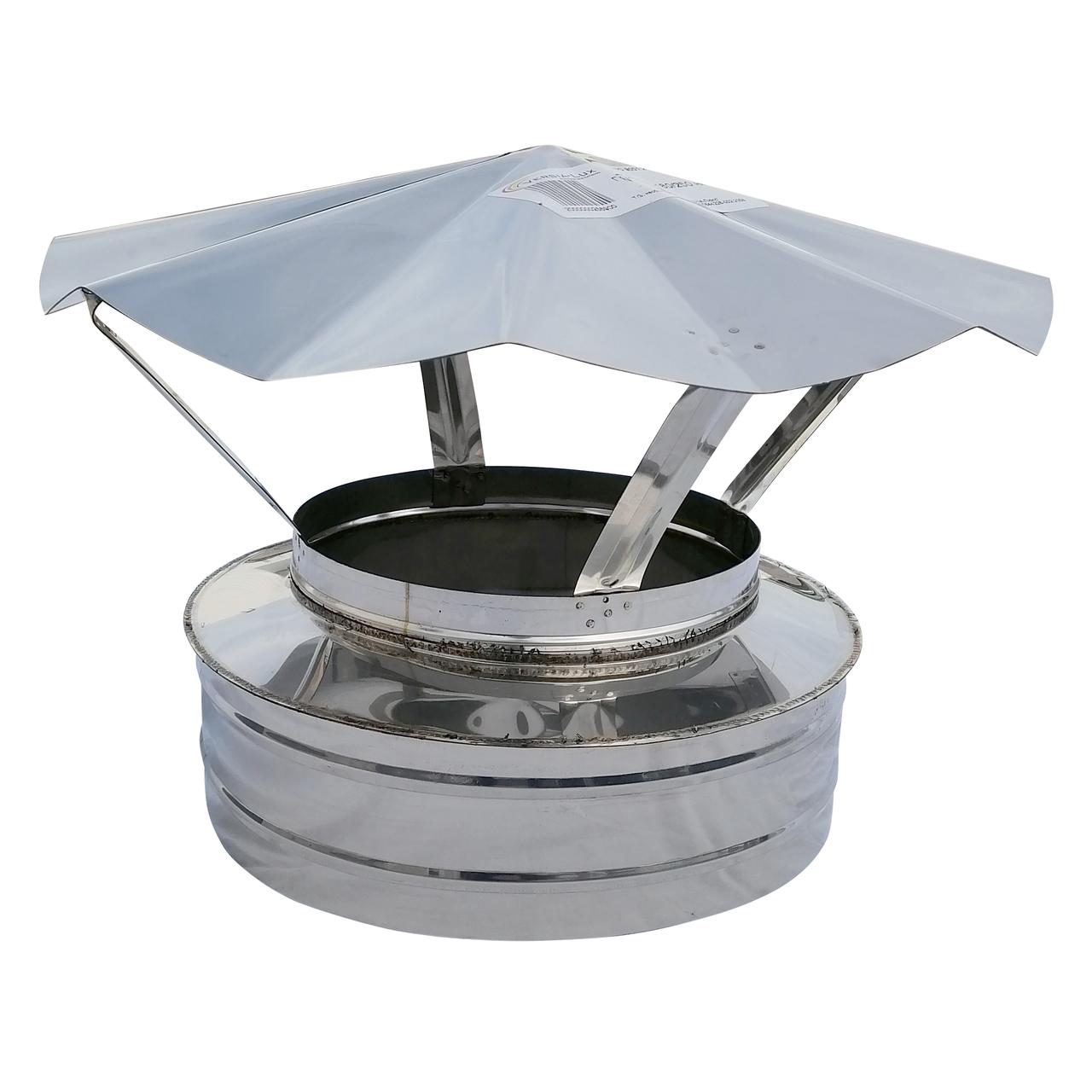 Грибок-термо ø220 мм из нержавеющей стали AISI 304 для дымохода вентиляции дымоходный Версия-Люкс