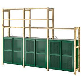 IKEA IVAR 3 секції / полиці / шафа, сосна / зелена сітка (594.013.88)