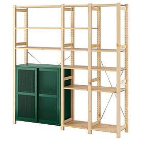 IKEA IVAR 3 секції / шафа / полки, сосна / зелена сітка (494.013.79)