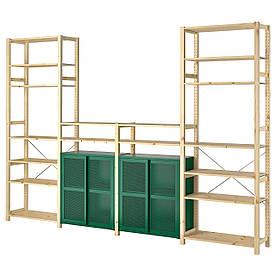 IKEA IVAR 4 секції / полиці / шафа, сосна / зелена сітка (194.013.85)