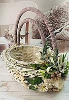 Великодні корзини, Набір Великодніх кошиків із лози з декором, фото 1