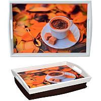 Поднос на подушке с ручками Осеннее наслаждение (белый)