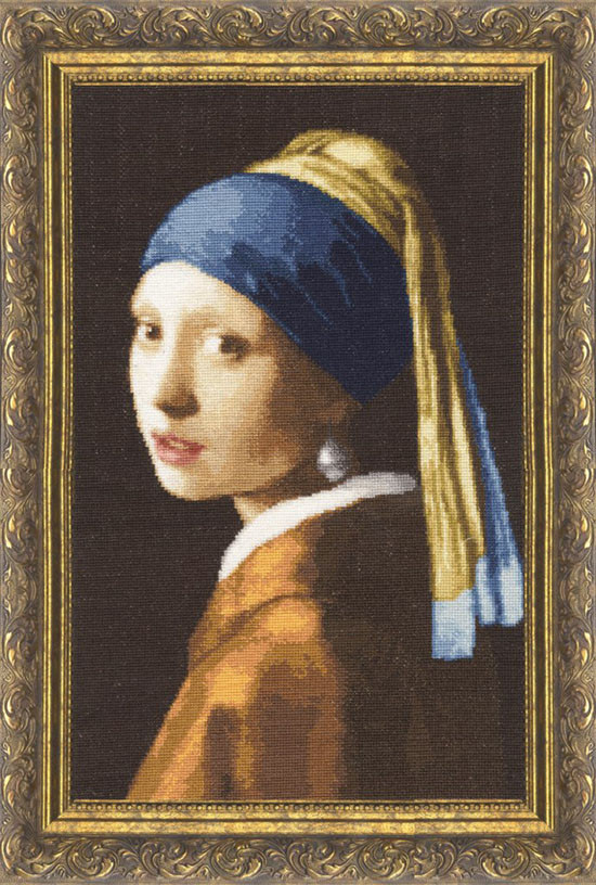Набор для вышивания Золотое руно Девушка с жемчужной сережкой (МК-021)