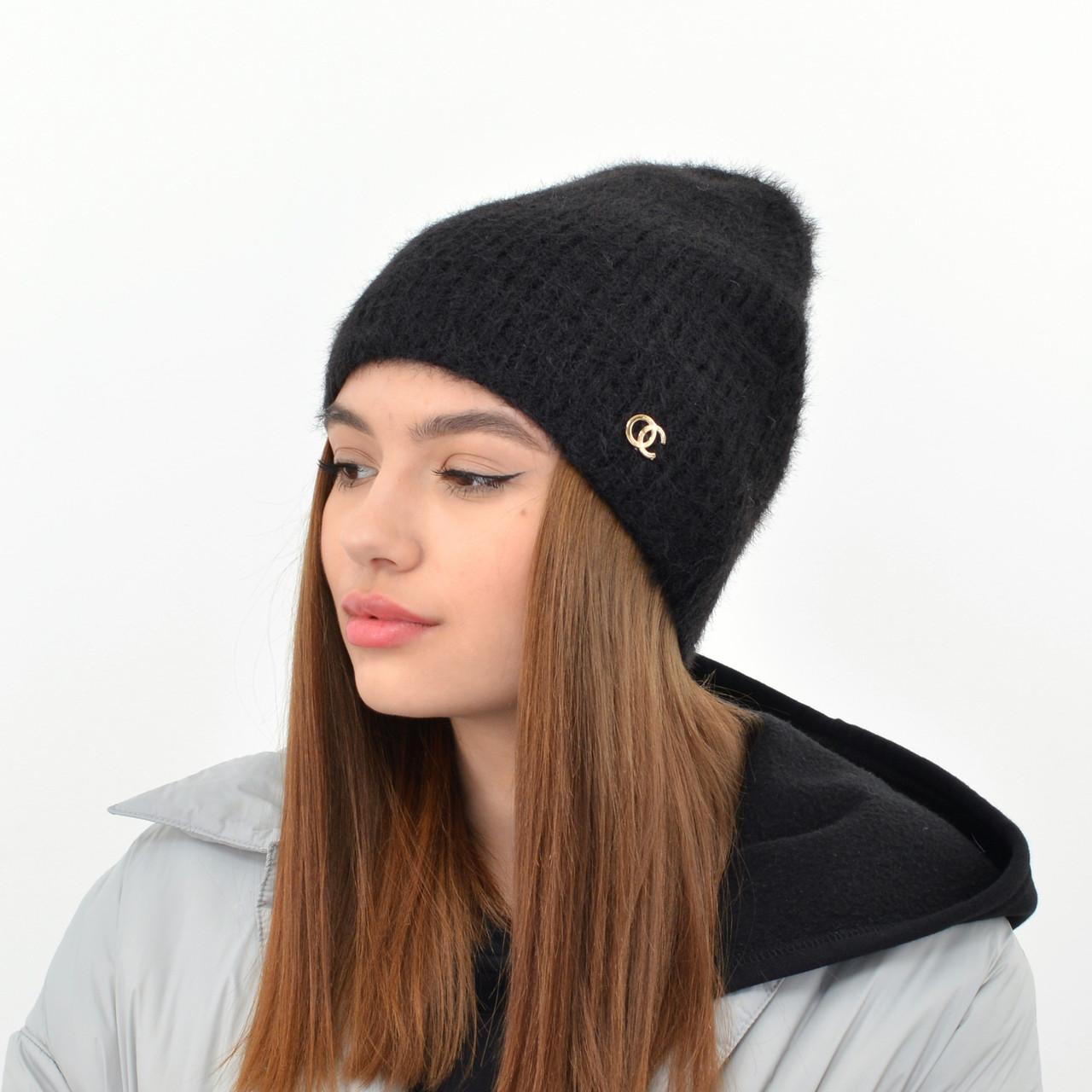 Молодежная шапка Ангора прямая черный