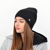 Молодежная шапка Ангора прямая черный, фото 1