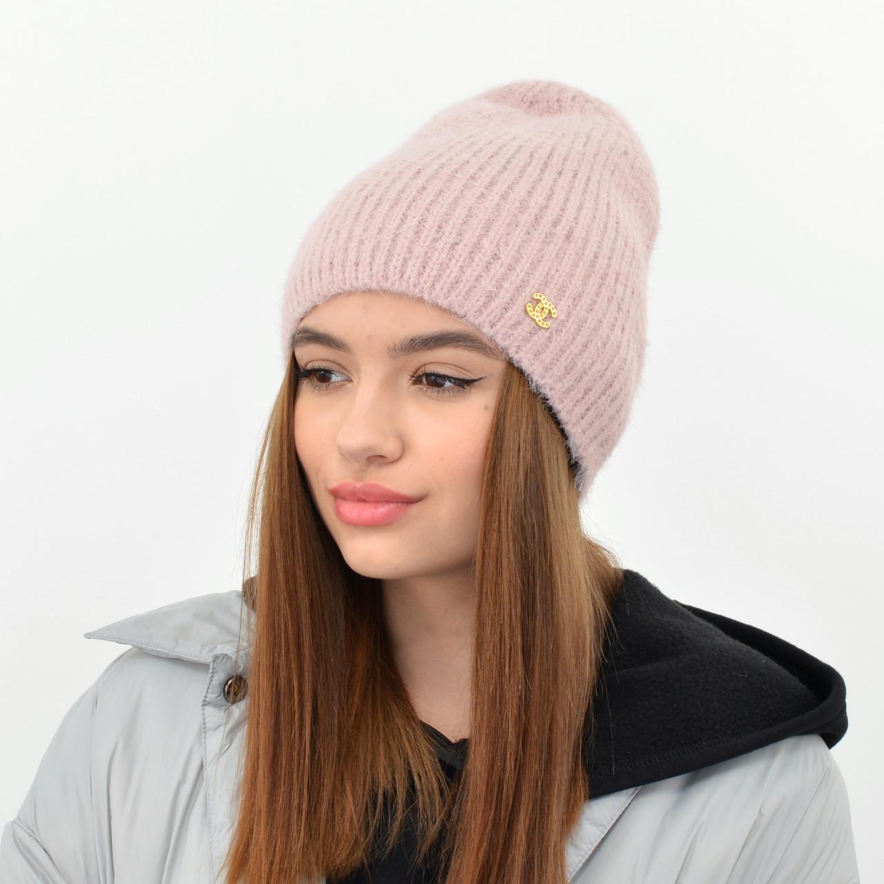 Молодіжна шапка Ангора пряма пудра