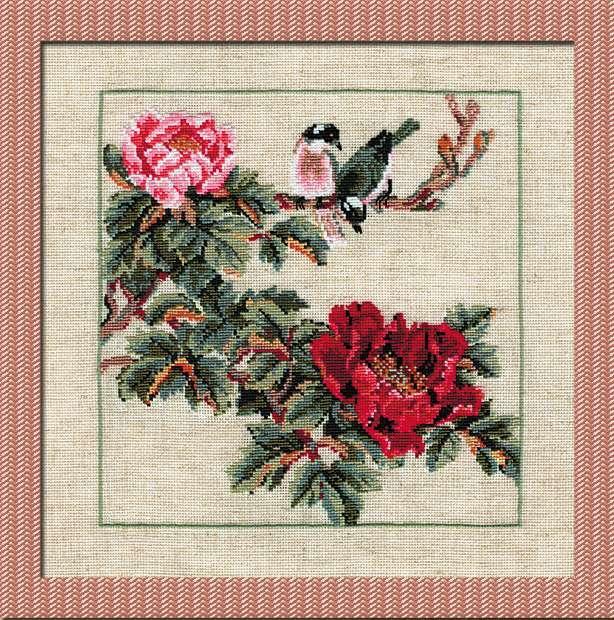 Набір для вишивання Ріоліс Птах на гілці з червоними квітами (0484)