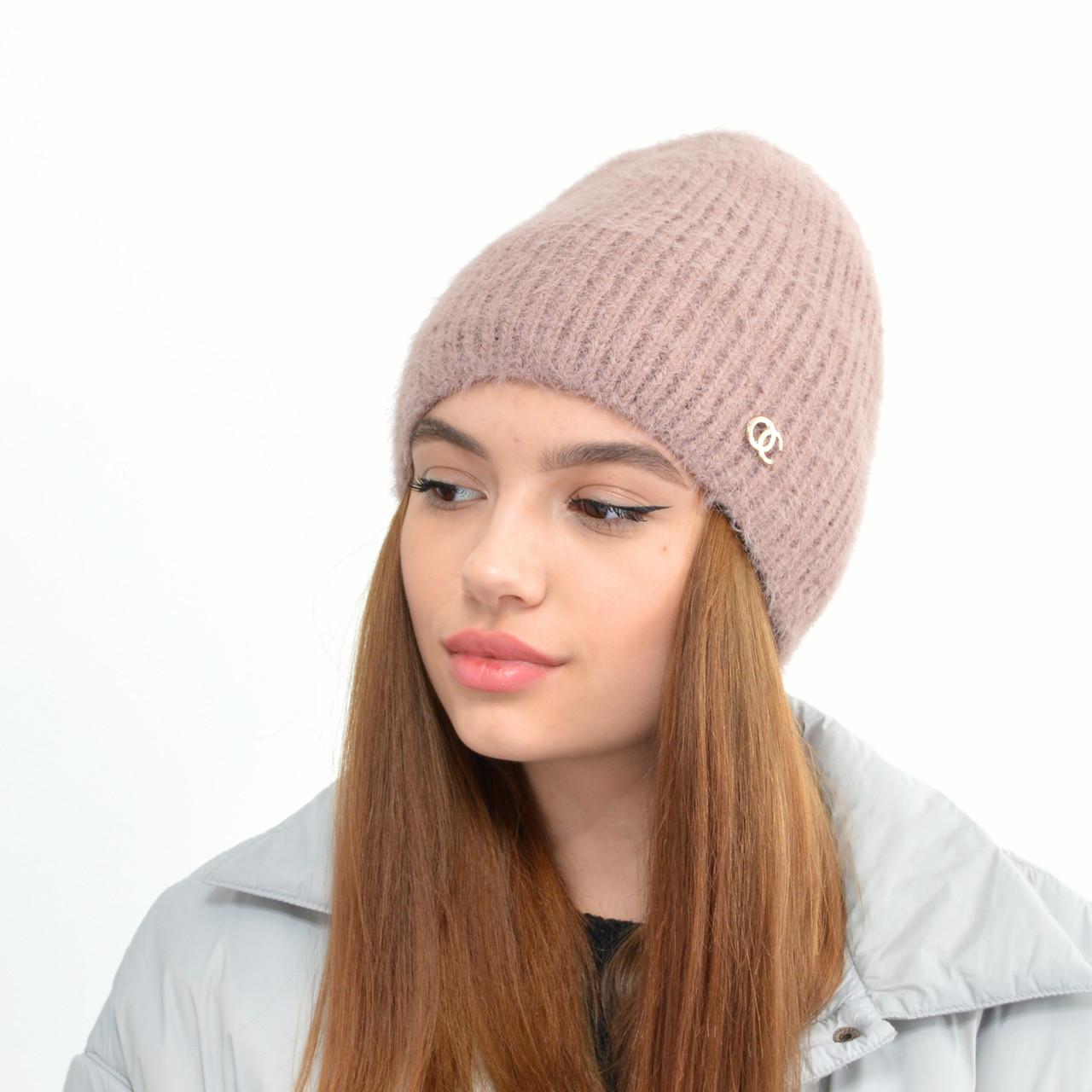 Молодежная шапка Ангора прямая пыльная роза