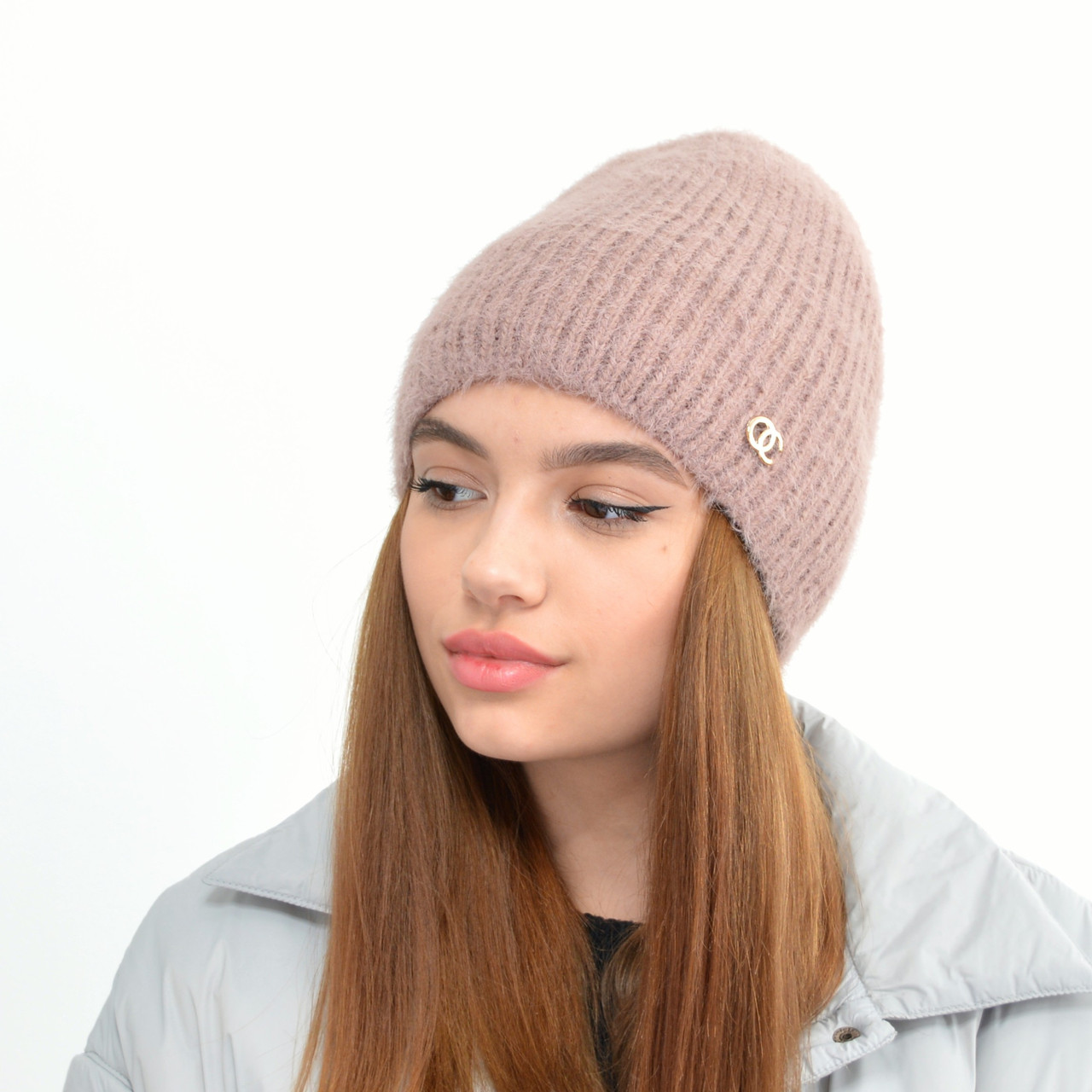 Молодіжна шапка Ангора пряма пильна троянда