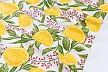 """Ранфорс шириною 240 см з принтом """"Барбарис та дольки лимона"""" на білому (№3391), фото 5"""