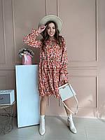Женское легкое платье свободного кроя с геометрическим принтом
