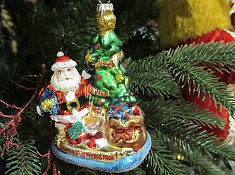 Елочная Игрушка Стекло формовка Дед Мороз с елкой и подарками