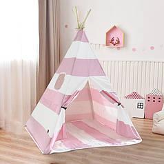 Дитячий ігровий намет Littledove RT-1640 Рожево-біла смужка вігвам будиночок для дітей