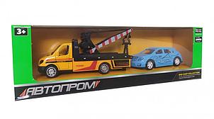 Машина металлическая Автопром эвакуатор + машинка (Жёлтый)  7414