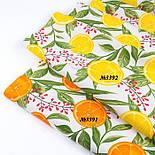 """Ранфорс шириною 240 см з принтом """"Барбарис та дольки лимона"""" на білому (№3391), фото 7"""