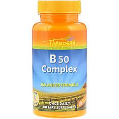 В комплекс В-50, витамины группы В, 60 капсул Thompson