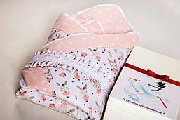 Комплект для новонароджених BeniLo - ковдра-конверт на виписку, ортопедична подушка, муслінові пелюшки Рожевий