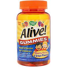 Мультивітаміни для дітей, вишня, виноград і апельсин, 90 жувальних цукерок nature's Way, Alive!