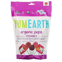 Органічні льодяники, вітамін C, асорті смаків, 40 льодяників (241 г) YumEarth