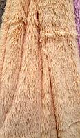Плед бамбуковый на кровать с длинным ворсом бежевый