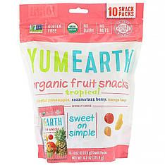Органічні фруктові снеки, тропічні фрукти, 10 упаковок, 17,6 г в кожній YumEarth