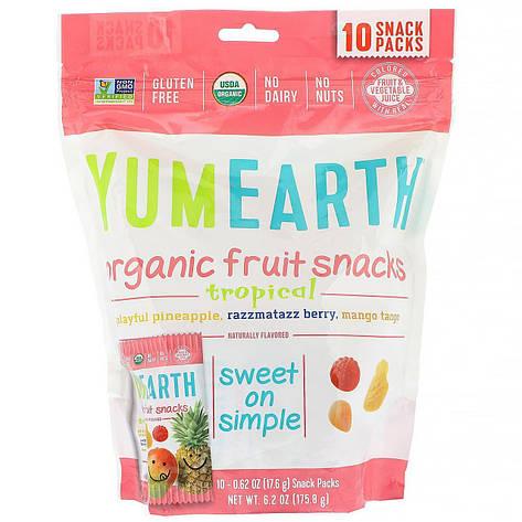 Органічні фруктові снеки, тропічні фрукти, 10 упаковок, 17,6 г в кожній YumEarth, фото 2