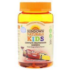 Мультивітаміни з вітаміном C, Тачки, машинки, виноград, апельсин і вишня 60шт Sundown Naturals Kids