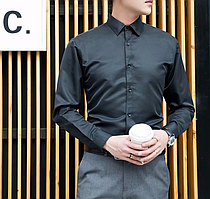 """Классическая прямая однотонная мужская рубашка с длинным рукавом """"Classic"""" (черный)"""