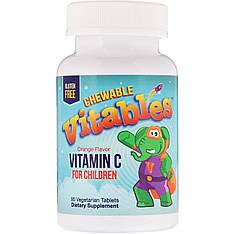 Витамином C для детей, апельсин, 90 вегетарианских таблеток, Vitables