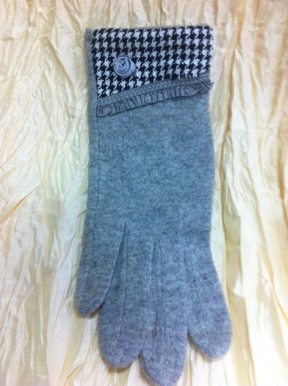 Кашемировые перчатки комбинированные цвет серый