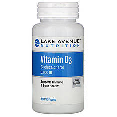 Витамин Д3 5 000 МЕ, 360 мягких желатиновых капсул Lake Avenue Nutrition
