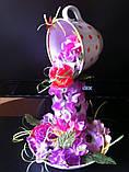 Летающая чашка с цветами  ручная работа в технике квиллинг, фото 2