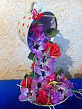 Летающая чашка с цветами  ручная работа в технике квиллинг, фото 3
