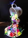 Летающая чашка с цветами  ручная работа в технике квиллинг, фото 4