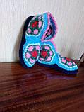 Супер - женские вязаные тапочки шерстяные комнатные  ажурные, фото 2