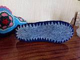 Супер - женские вязаные тапочки шерстяные комнатные  ажурные, фото 5